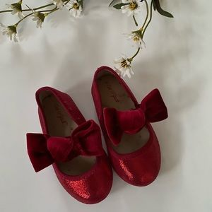 Cat & Jack Red Sparkle Bow Shoes